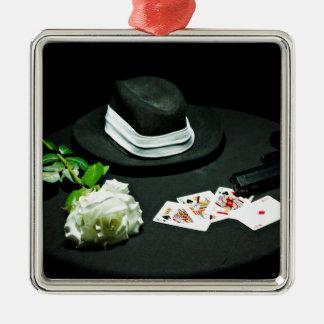 Poker gangster gun rose square metal christmas ornament