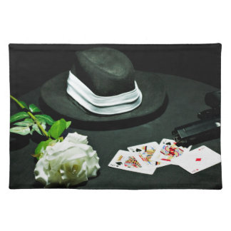 Poker gangster gun rose placemat