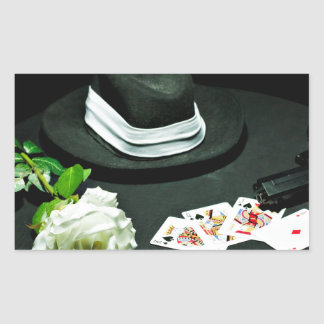 Poker gangster gun rose rectangular sticker