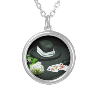Poker gangster gun rose silver plated necklace
