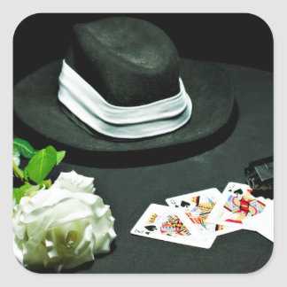 Poker gangster gun rose square sticker
