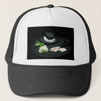Poker gangster gun rose trucker hat