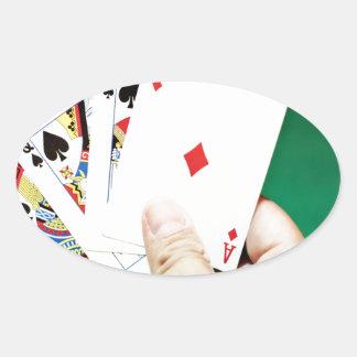 Poker good hand oval sticker