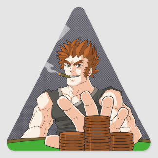 Poker Guy All In Triangle Sticker