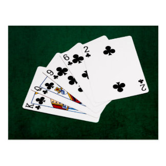 Poker Hands - Flush - Clubs Suit Postcard