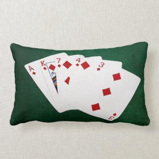 Poker Hands - Flush - Diamonds Suit Lumbar Pillow
