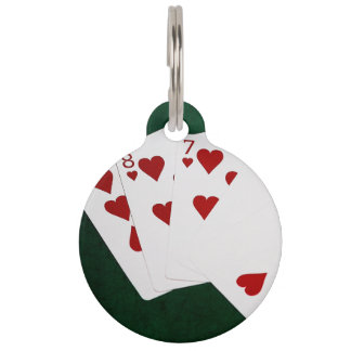 Poker Hands - Flush - Hearts Suit Pet ID Tag