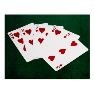 Poker Hands - Flush - Hearts Suit Postcard