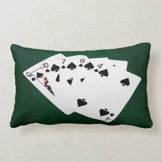Poker Hands - Flush - Spades Suit Lumbar Pillow