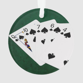 Poker Hands - Flush - Spades Suit Ornament