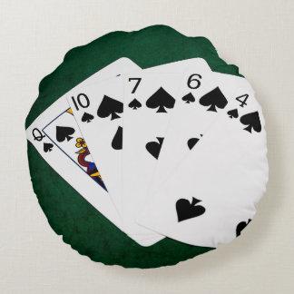 Poker Hands - Flush - Spades Suit Round Pillow