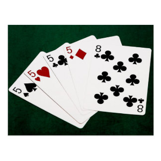 Poker Hands - Four Of A Kind - Fives and Eight Postcard