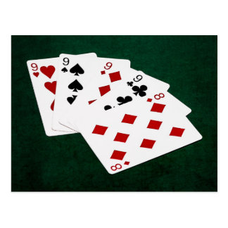 Poker Hands - Four Of A Kind - Nines and Eight Postcard
