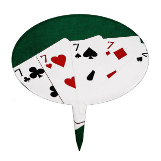 Poker Hands - Four Of A Kind - Sevens and Two Cake Topper