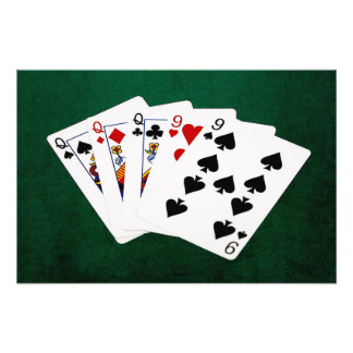 Poker Hands - Full House - Queen and Nine Photo Print