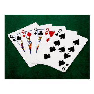 Poker Hands - Full House - Queen and Nine Postcard