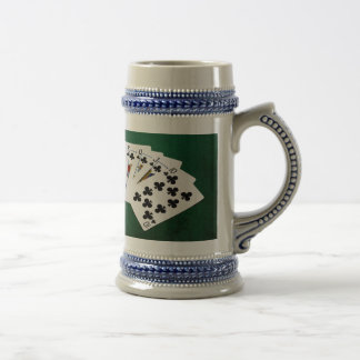 Poker Hands - Royal Flush - Clubs Suit Beer Stein