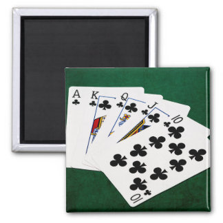 Poker Hands - Royal Flush - Clubs Suit Magnet