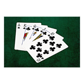 Poker Hands - Royal Flush - Clubs Suit Photo Print