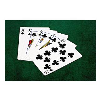 Poker Hands - Royal Flush - Clubs Suit Photographic Print