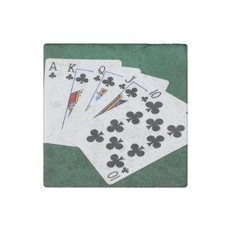 Poker Hands - Royal Flush - Clubs Suit Stone Magnet