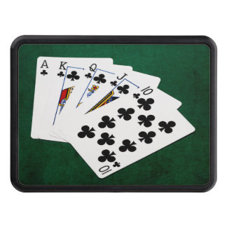 Poker Hands - Royal Flush - Clubs Suit Tow Hitch Cover