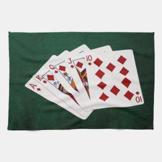 Poker Hands - Royal Flush - Diamonds Suit Hand Towels