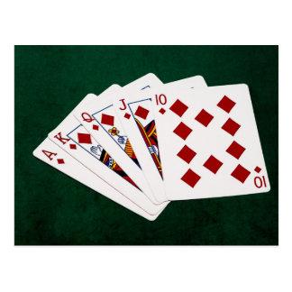 Poker Hands - Royal Flush - Diamonds Suit Postcard