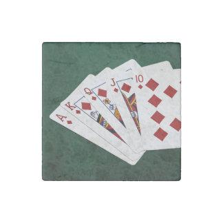 Poker Hands - Royal Flush - Diamonds Suit Stone Magnet