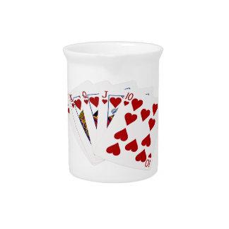 Poker Hands - Royal Flush - Hearts Suit Beverage Pitcher