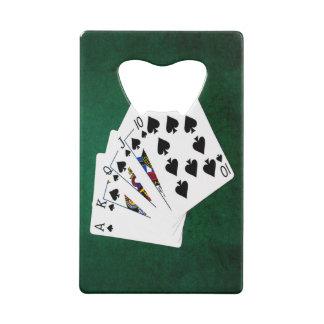 Poker Hands - Royal Flush - Spades Suit Credit Card Bottle Opener