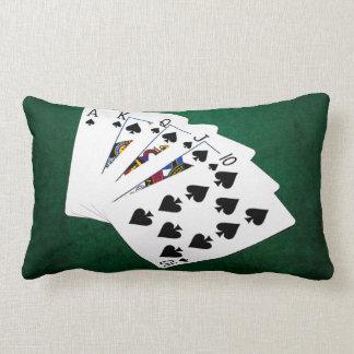 Poker Hands - Royal Flush - Spades Suit Lumbar Pillow