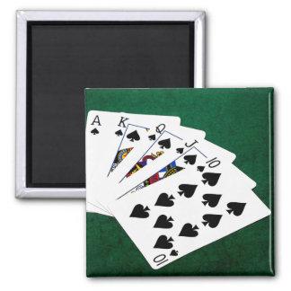 Poker Hands - Royal Flush - Spades Suit Magnet