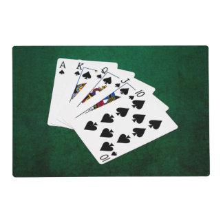 Poker Hands - Royal Flush - Spades Suit Laminated Place Mat
