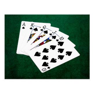 Poker Hands - Royal Flush - Spades Suit Postcard