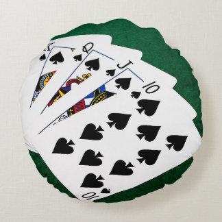 Poker Hands - Royal Flush - Spades Suit Round Pillow