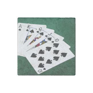 Poker Hands - Royal Flush - Spades Suit Stone Magnet