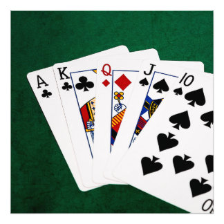 Poker Hands - Straight - Ace To Ten Photo Print