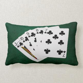 Poker Hands - Straight Flush - Clubs Suit Lumbar Pillow