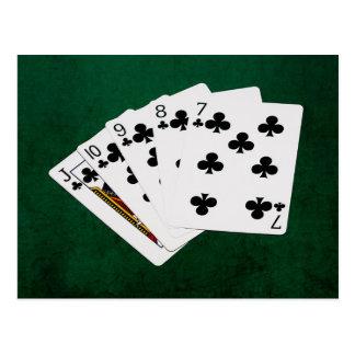 Poker Hands - Straight Flush - Clubs Suit Postcard