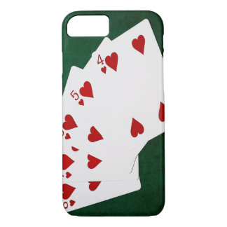 Poker Hands - Straight Flush - Hearts Suit iPhone 8/7 Case