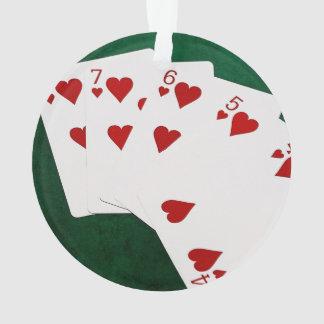 Poker Hands - Straight Flush - Hearts Suit Ornament