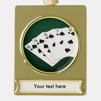 Poker Hands - Straight Flush - Spades Suit Gold Plated Banner Ornament