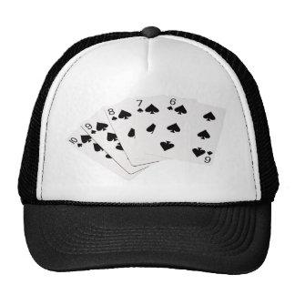 Poker Hands - Straight Flush - Spades Suit Trucker Hats
