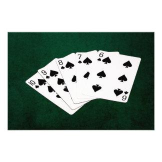 Poker Hands - Straight Flush - Spades Suit Photo Print