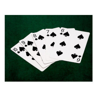 Poker Hands - Straight Flush - Spades Suit Postcard