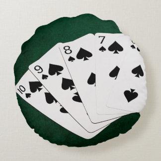 Poker Hands - Straight Flush - Spades Suit Round Pillow