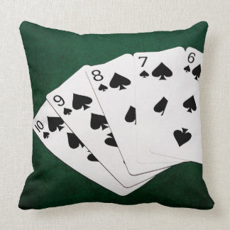 Poker Hands - Straight Flush - Spades Suit Throw Pillow