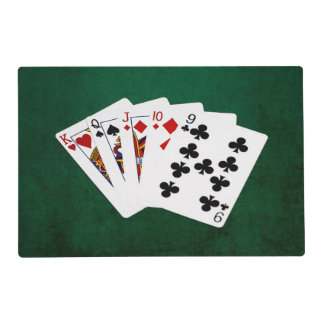 Poker Hands - Straight - King To Nine Laminated Placemat