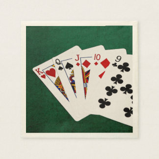 Poker Hands - Straight - King To Nine Paper Napkin